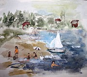 Docked Boats Painting Posters - Sore Thumb Beach Poster by Mary Spyridon Thompson