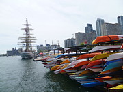 Tall Ships Prints - Sorlandet and Canoes at dockyard Print by Lingfai Leung