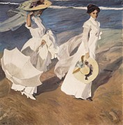 Walk On The Beach Framed Prints - Sorolla, Joaquín 1863-1923. Walk Framed Print by Everett
