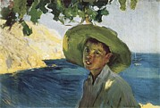 Youthful Photos - Sorollajoaquín 1863-1923. Boy With Hat by Everett
