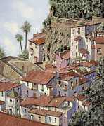 Italy Village Framed Prints - Sorrento Framed Print by Guido Borelli