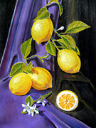 Cut Flowers Paintings - Sorrento Lemons by Irina Sztukowski