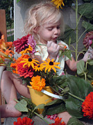 Contemplating Art - Sorting her flowers  by Otella Brantmier
