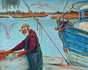 Overalls Originals - Sorting Shrimp at Frogmore 2 by Dwain Ray