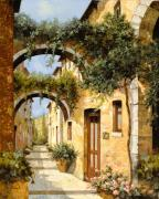 Green Door Prints - Sotto Gli Archi Print by Guido Borelli