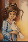 Angels Drawings - Soul Dove by Leticia Tanguma