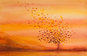 Autumn Trees Prints - Soul Freedom Watercolor Painting Print by Michelle Wiarda