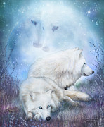 Romantic Art Prints - Soul Mates - White Wolves Print by Carol Cavalaris