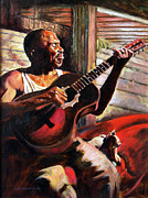Black Man Painting Posters - Soul Music Poster by John Lautermilch