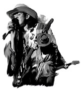 Iconic Drawings Acrylic Prints - Soul To Soul  Stevie Ray Vaughan Acrylic Print by Iconic Images Art Gallery David Pucciarelli