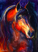 Custom Portrait Framed Prints - Soulful Horse painting Framed Print by Svetlana Novikova
