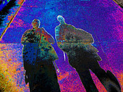 Lovers Art On Print Prints - souls of 2 Veterans walking on Broadway - Glendale that is v3 Print by Kenneth James