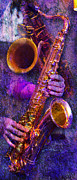 Music Inspired Art Photo Prints - Sound Bites Niche Stacked Sax Print by Bob Coates