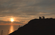 Gloaming Prints - Sounion Temple of Poseidon Sunset 4 Print by Deborah Smolinske