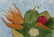 Green Beans Paintings - Soup Basket by Joan Zepf