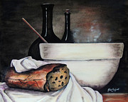 Loaf Of Bread Painting Prints - Soup Kitchen Print by Ruth Bodycott