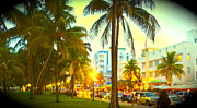 Collins Avenue Prints - South Beach Glow Print by Diane Phelps