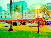 Collins Avenue Prints - South Beach Green Print by Diane Phelps
