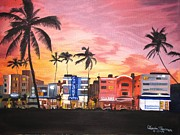 Kevin F Heuman Framed Prints - South Beach Ocean Drive Framed Print by Kevin F Heuman