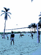 Faded Digital Art Originals - South Beach Volleyball faded memories by Diane Phelps