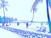 Faded Digital Art Originals - South Beach Volleyball in faded memories by Diane Phelps