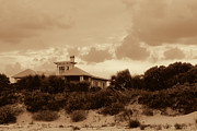 Raw Umber Art - South Carolina Beach House In Sepia by Kathy Clark