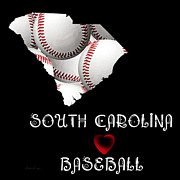 Abstract Map Posters - South Carolina Loves Baseball Poster by Andee Photography