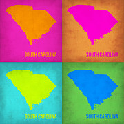 World Map Digital Art Metal Prints - South Carolina Pop Art Map 1 Metal Print by Irina  March
