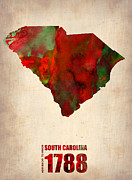World Map Digital Art Posters - South Carolina Watercolor Map Poster by Irina  March