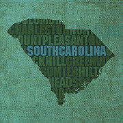 South Carolina Framed Prints - South Carolina Word Art State Map on Canvas Framed Print by Design Turnpike
