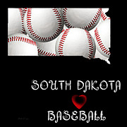 South Dakota Map Digital Art Prints - South Dakota Loves Baseball Print by Andee Photography