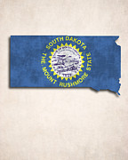 South Dakota Map Digital Art Prints - South Dakota Map Art with Flag Design Print by World Art Prints And Designs