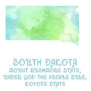 South Dakota Map Mixed Media Prints - South Dakota - Mount Rushmore State - Coyote State - Map - State Phrase - Geology Print by Andee Photography