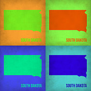 South Street Framed Prints - South Dakota Pop Art Map 1 Framed Print by Irina  March