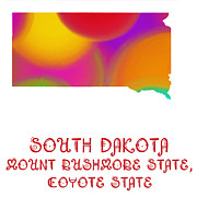 South Dakota Map Digital Art Prints - South Dakota State Map Collection 2 Print by Andee Photography
