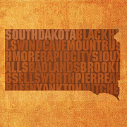 South Dakota Map Mixed Media Prints - South Dakota Word Art State Map on Canvas Print by Design Turnpike