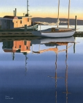 British Columbia Paintings - South harbour reflections by Gary Giacomelli
