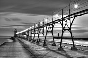 South Haven Framed Prints - South Haven Light in Black and White Framed Print by Twenty Two North Photography