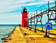 South Haven Framed Prints - South Haven Lighthouse Framed Print by Nick Zelinsky