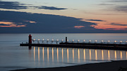 Sunset Seascape Posters - South Haven Michigan Lighthouse Poster by Adam Romanowicz