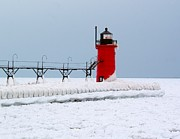Catwalk Posters - South Haven Winter Lighthouse Poster by Nick Zelinsky
