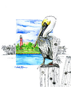 Moran Mixed Media Prints - South Jetty Print by Amber M  Moran