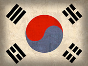 Flag Prints - South Korea Flag Vintage Distressed Finish Print by Design Turnpike