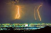 Monsoon Posters - South Mountain Lightning Strike Phoenix AZ Poster by James Bo Insogna