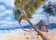 Beach Hut Paintings - South Pacific Hut by Carolyn Jarvis
