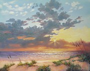 Dramatic Sky Sun Rays Paintings - South Padre Island Splendor by Carol Reynolds