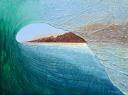 Surfing Art Painting Originals - South Peak Barrel by Nathan Ledyard