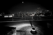Chicago Skyline Black White Posters - South Pond with Chicago skyline Poster by Sven Brogren