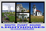 South Puget Sound Posters - South Puget Sound Lighthouses Poster by Mike Moore FIAT LUX