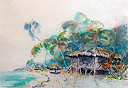 Moorea Paintings - South Sea Home by Carolyn Jarvis